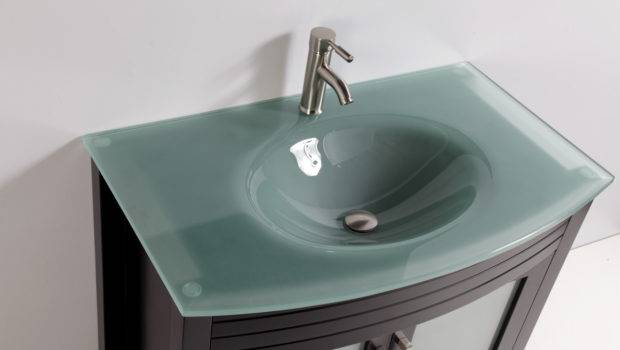 Tempered Glass Top Single Sink Bathroom Vanity