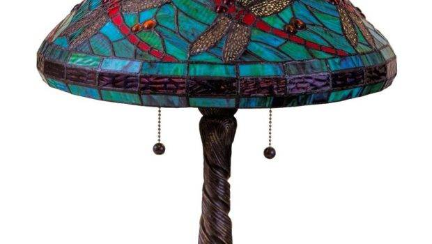 Tiffany Style Stained Glass Turquoise Table Lamp Shade