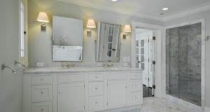 Tile Basketweave Bath Vanities White Bathroom Floor