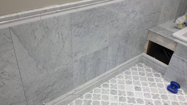 Tile Install White Marble Bathroom River City Company