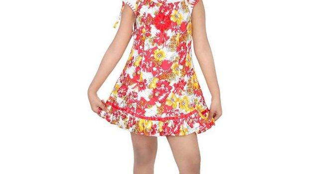 Tiny Teens Red Cotton Frock Girls Buy