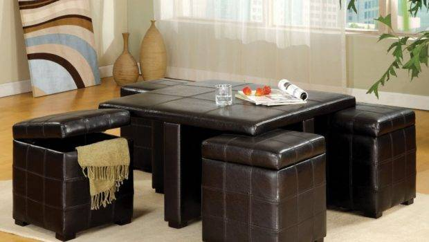Top Stylish Brown Leather Ottoman Coffee Tables