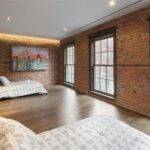 Touch Meets Classic Brick Wall Wooden Floor Wide Window Hidden Lamps