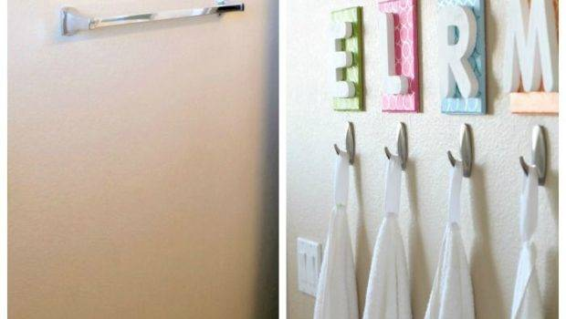 Towel Bar Each Kids Initial Above Hook Cute Idea