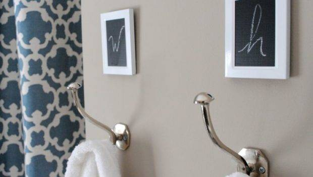 Towel Hooks Add Small Frames Above Spray Paint White