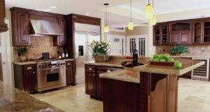 Traditional Luxury Kitchen Features Beautiful Cherry Wood Cabinets
