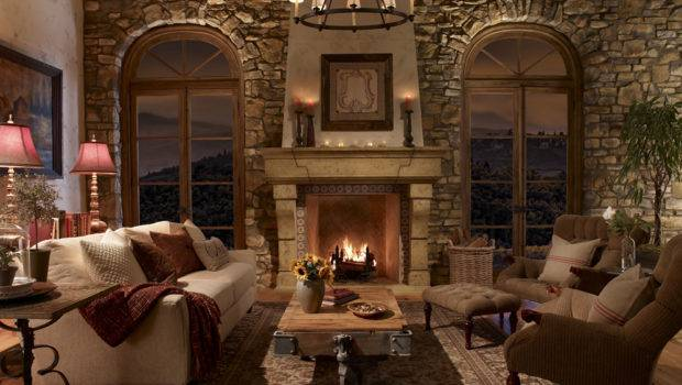 Traditional Stone Fireplace Creating Cozy Warm Atmosphere
