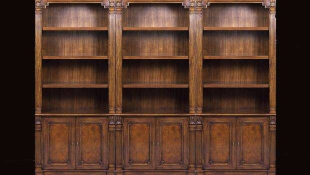 Traditional Walnut Bunching Bookcase Myrtle Burl Inlays