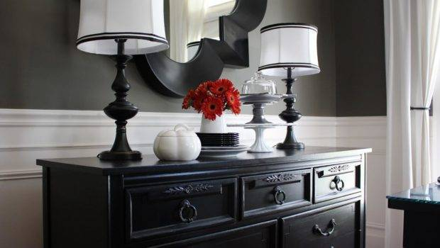Transitional Dining Room Dark Gray Walls White Wainscoting