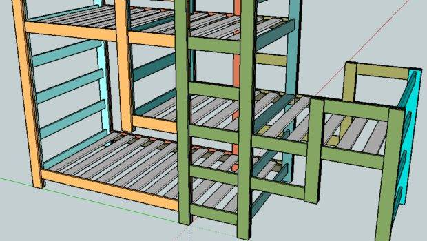 Triple Bunk Bed Plan Staggered Design Middle Offset