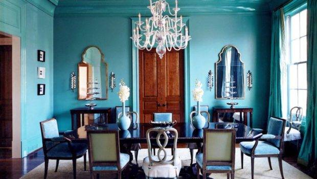 Turquoise Dining Room Eclectic Glidden Seven Lakes