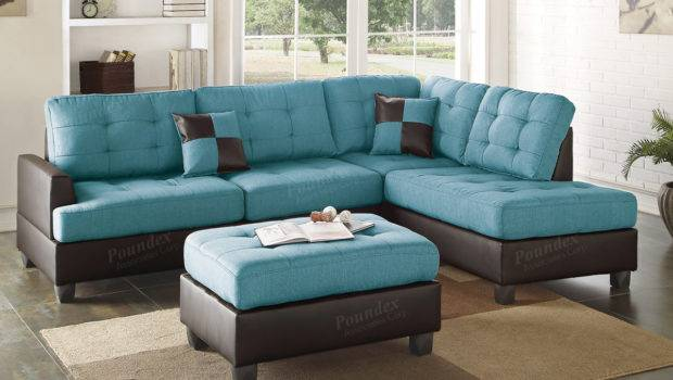 Turquoise Leather Sectional Sofa Keegan Piece Fabric