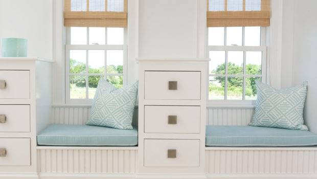 Two Short Window Seats Divided White Drawers Blue Cushions