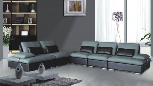 Unique Leather Two Tone Grey Chocolate Sectional Sofa Chicago