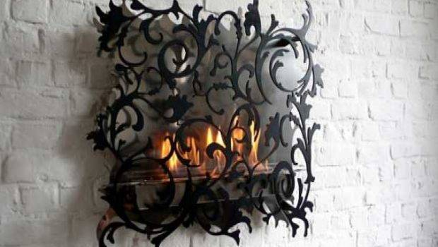 Unique Wall Mount Fireplace Decorating Ideas Gothic Like Design