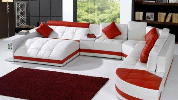 Unique White Red Leather Sofa Living Room