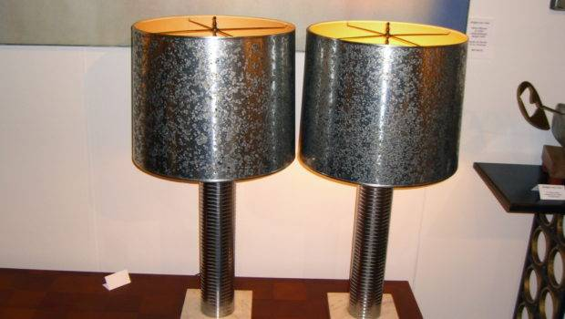 Unusual Etched Steel Lamps Original Oil Spot Shades Stdibs