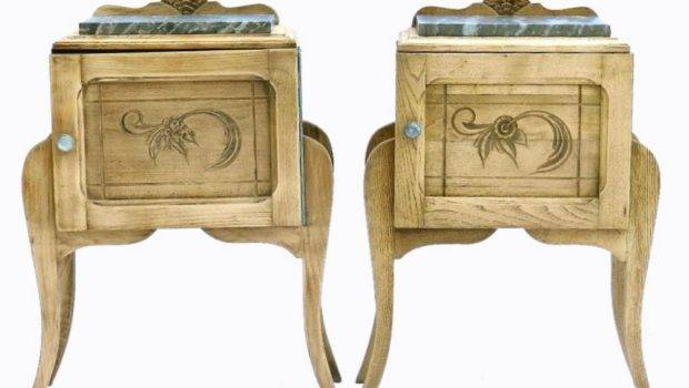Unusual Pair Art Deco French Side Cabinets Bleached Oak Bedside
