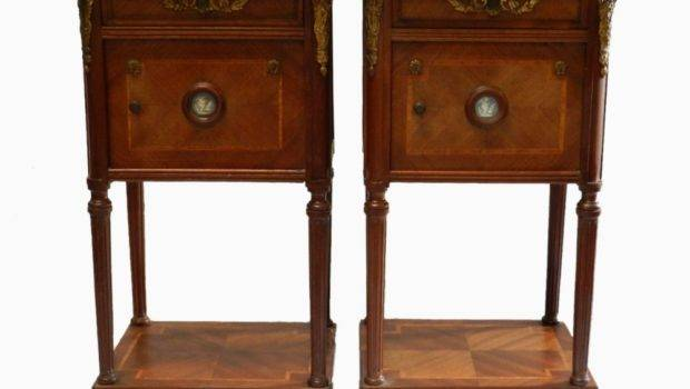 Unusual Pair French Side Cabinets Bedside Tables Limoges