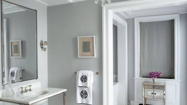 Vanities Chandelier Greek Key Gray Walls Paint Color Bathroom