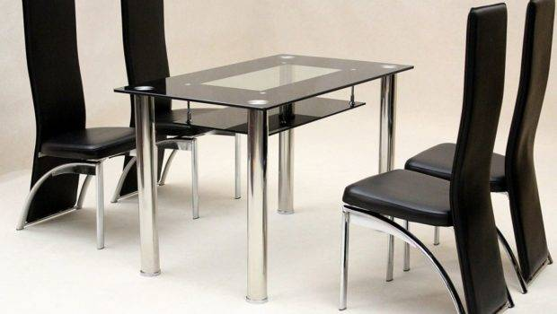 Vegas Black Glass Dining Table Chairs Blue Ocean Interiors