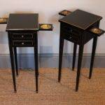 Very Smart Small Pair French Ebonised Bedside Tables