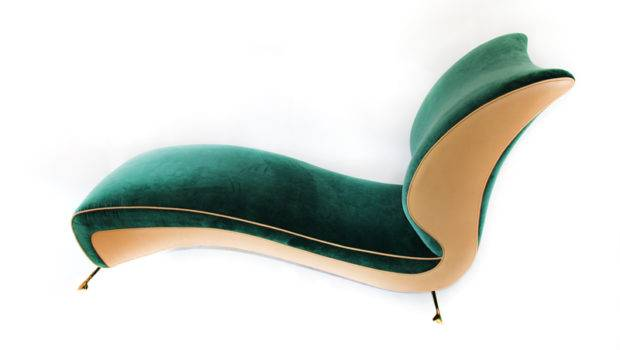 Very Unique Curved Line Fan Back Chaise Lounge Custom New Emerald