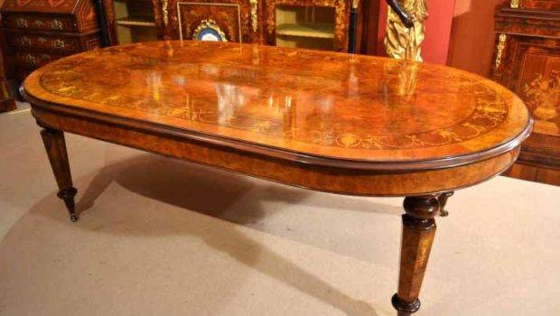 Victorian Style Dining Table Burr Walnut Marquetry Ref