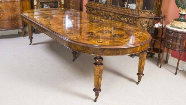 Victorian Style Marquetry Burr Walnut Dining Table