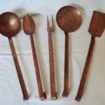 Vintage French Copper Kitchen Utensils Spoon Fork Spatula