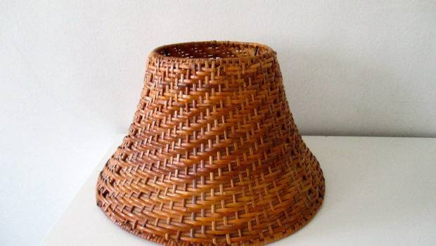 Vintage Wicker Lamp Shade Brown Blackwellvintage