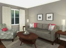 Virtual Design Living Room Grey Pink Contemporary