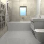 Virtual Small Bathroom Uses Large Tiles Combined