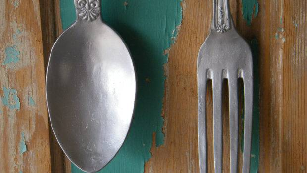 Wall Art Oversize Fork Spoon Chrome Silver Morrelldecor