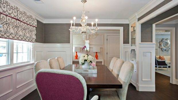 Wall Covering Charcoal Gray Cozy Dining Room Design