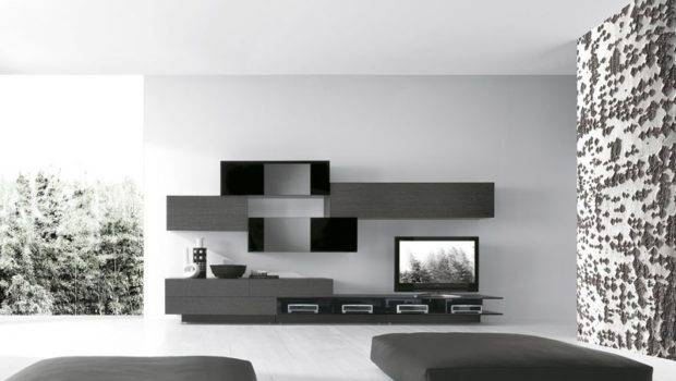 Wall Design Black Gray Woods Box Shelves Living Room