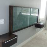 Wall Headboard Added Glass Panels Attached Grey Bedroom