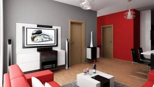 Wall Paint Color Schemes Interior Red Sofa