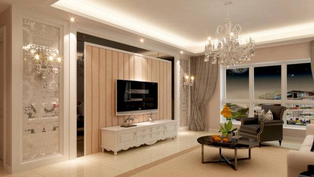 Wall Style Villa Living Room Marble Columns Design Walls