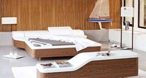 Walnut White Unusual Platform Bed Cover Modern Design Olpos