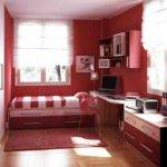 Warm Cozy Small Bedroom White Red Colors Heart