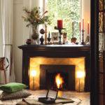 Warm Look Red Candles Black Fireplace Mantel Green Cushion