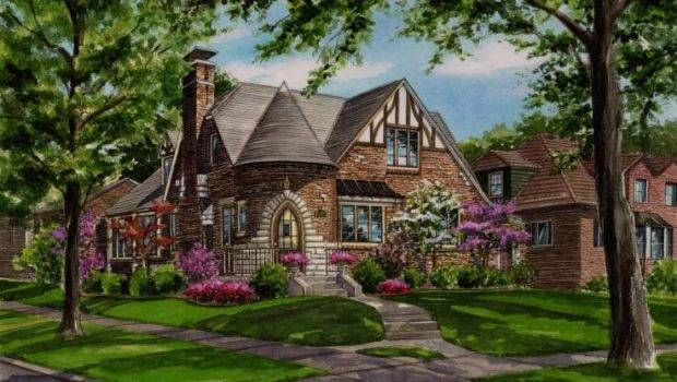 Watercolor Custom House Portrait Brick Tudor Style Home Turret