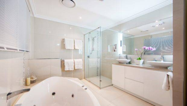 White Bathtup Small Modern Bathroom Design Ideas Shower Space