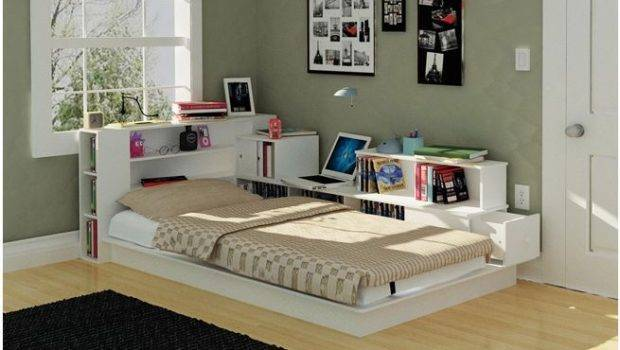 White Bookcase Headboard Platform Bed Beautiful Functional