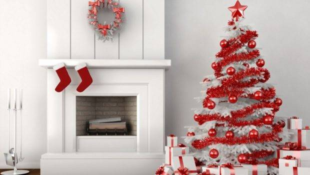 White Christmas Home Decoration Ideas Red
