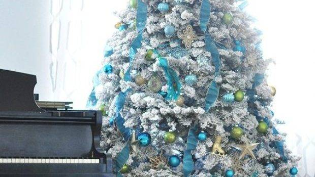 White Christmas Tree Blue Decorations Happy Holidays