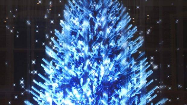 White Christmas Tree Blue Lights Happy Holidays
