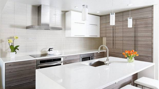 White Countertop Modern Kitchen Backsplash Tile