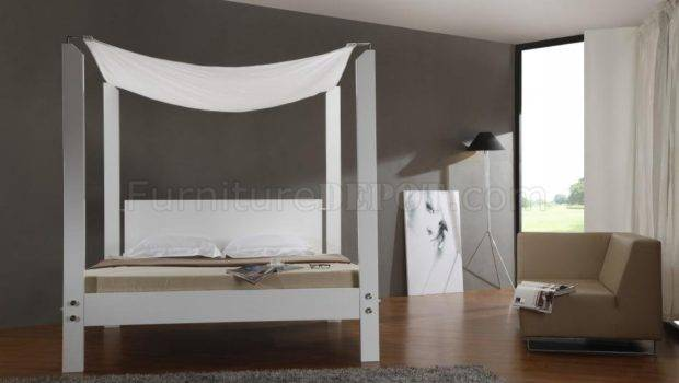 White Finish Modern Canopy Bed Glossy Headboard Frame Vgbs Lias